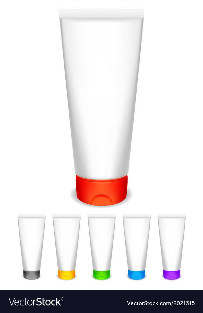 Cream tubes with color caps vector | Price: 1 Credit (USD $1)