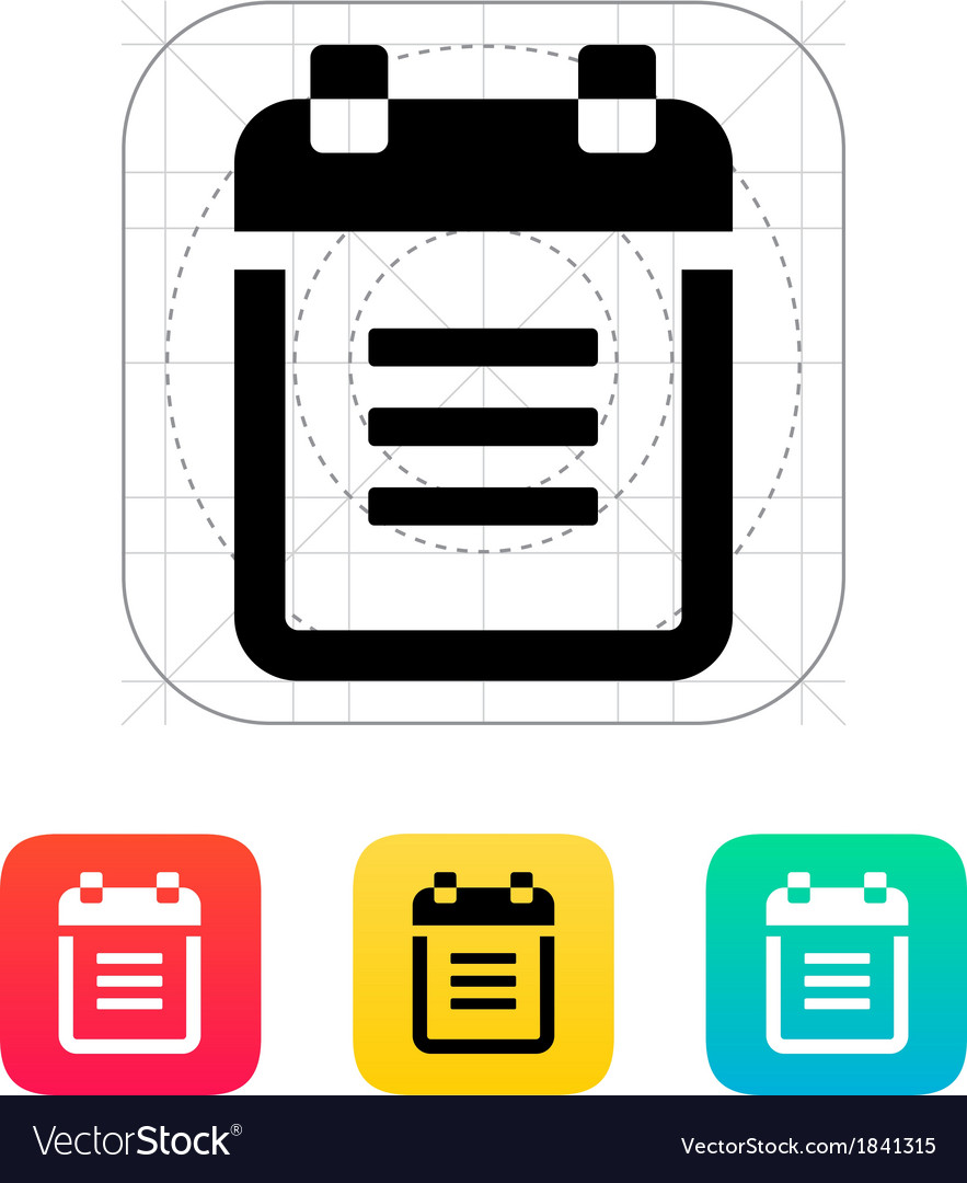Notepad with spiral icon vector | Price: 1 Credit (USD $1)