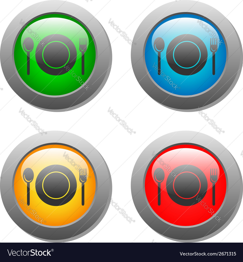 Plate spoon and fork icon on set glass button vector | Price: 1 Credit (USD $1)