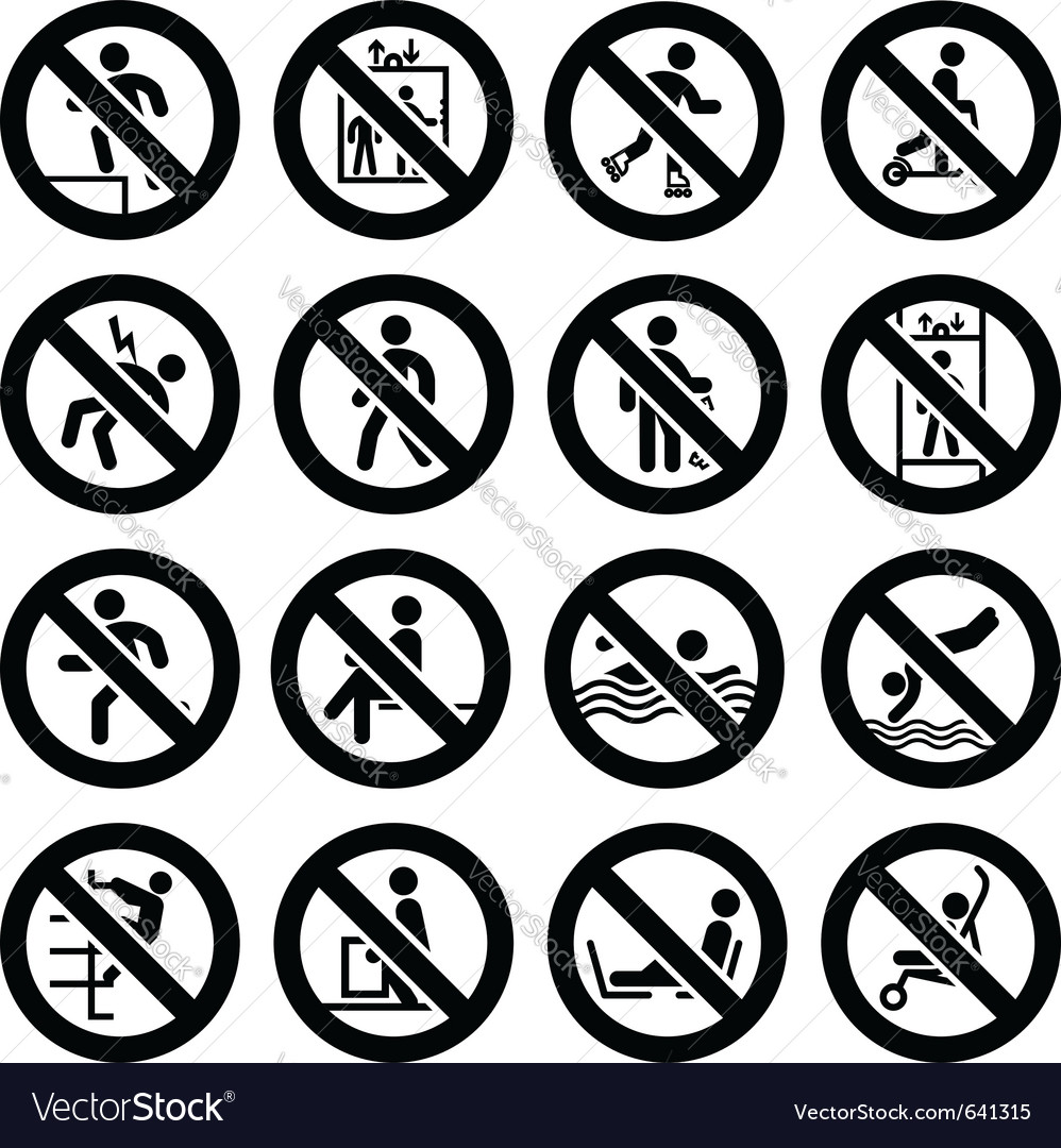 Prohibited black signs vector | Price: 1 Credit (USD $1)