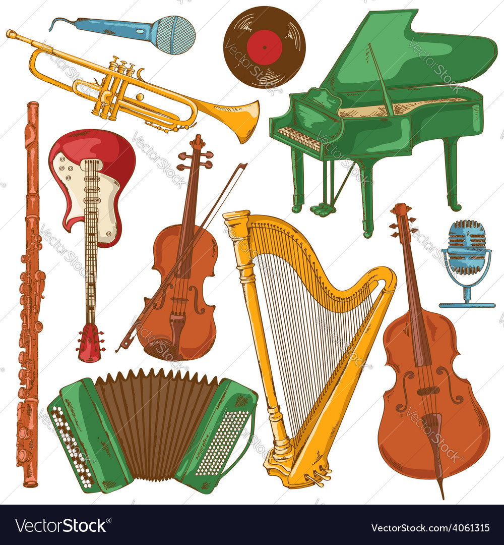 Set of isolated colorful musical instruments vector | Price: 1 Credit (USD $1)