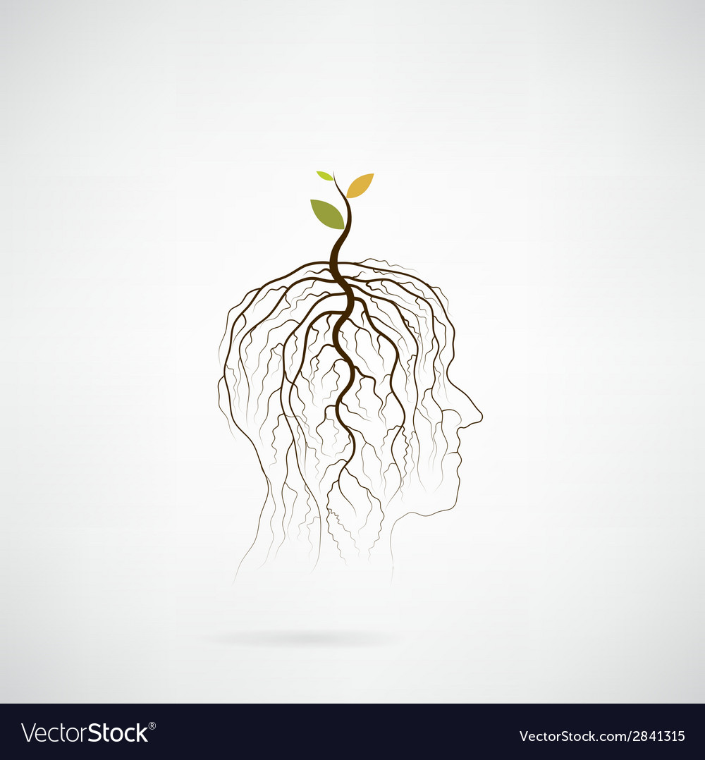 Tree of green idea shoot grow on human head vector | Price: 1 Credit (USD $1)