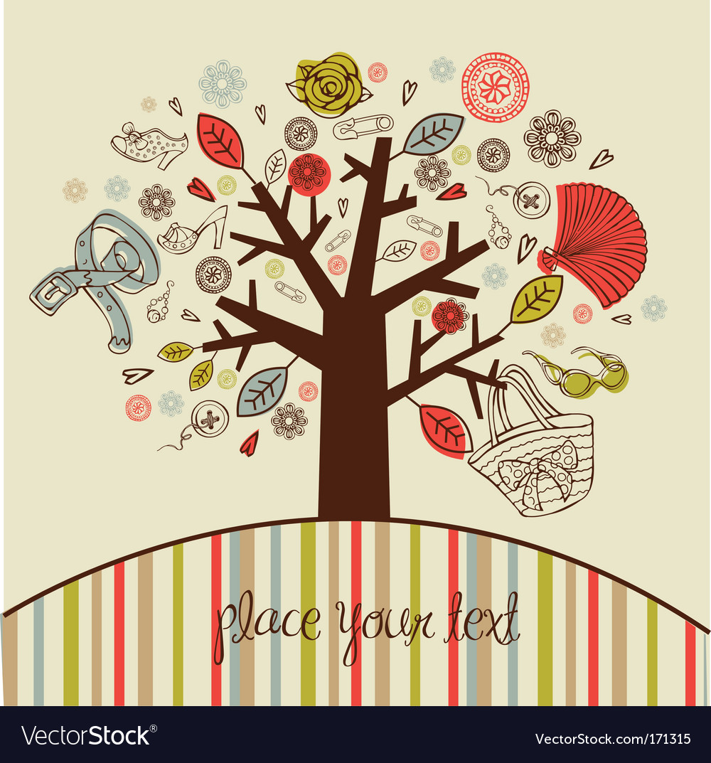 Tree with women accessories vector | Price: 1 Credit (USD $1)