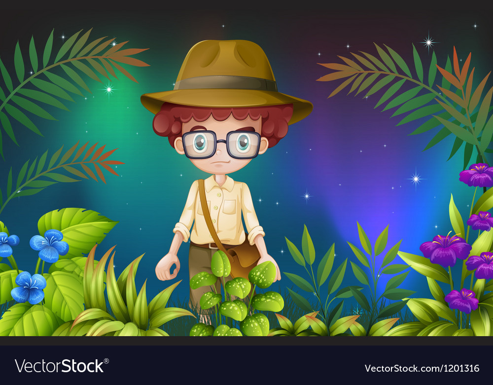 A boy with an eyeglass and a hat vector | Price: 1 Credit (USD $1)