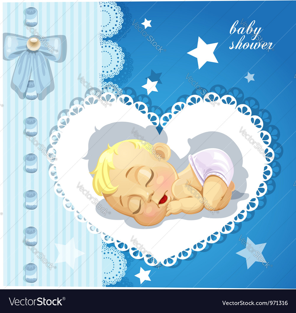 Blue delicate baby shower card with sleeping baby vector | Price: 3 Credit (USD $3)