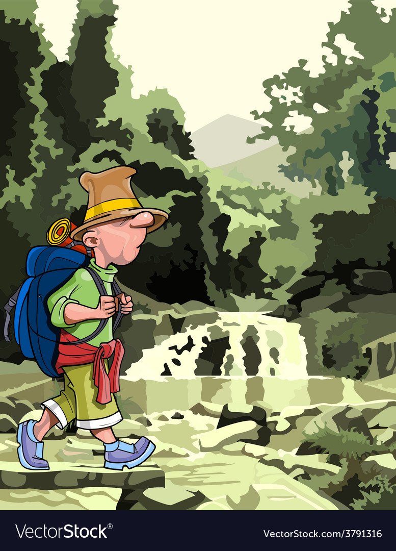 Cartoon tourist with a backpack walking through vector | Price: 3 Credit (USD $3)