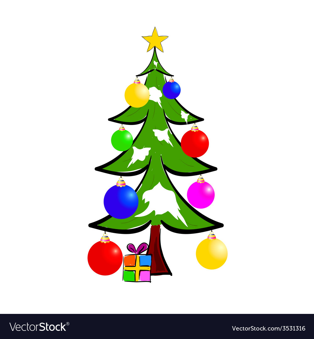 Christmas tree with presents color vector | Price: 1 Credit (USD $1)