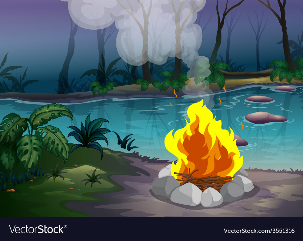 Forest and fire vector | Price: 3 Credit (USD $3)