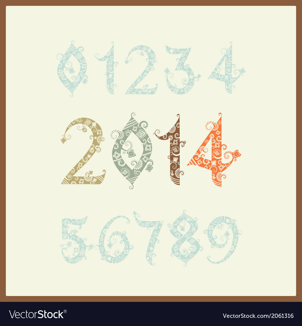 New year 2014 two thousand and thirteen set of vector | Price: 1 Credit (USD $1)