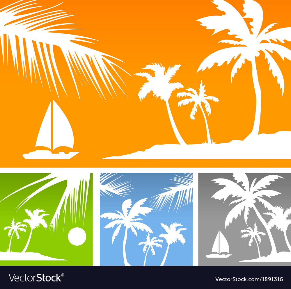 Palms color background vector | Price: 1 Credit (USD $1)