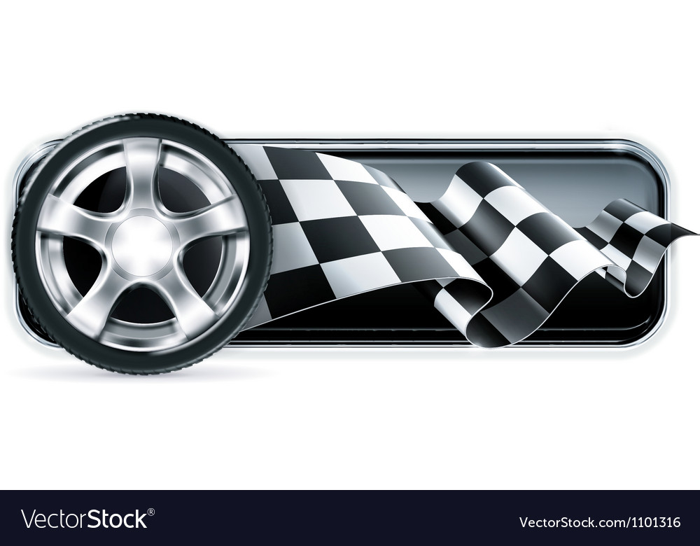 Racing banner with car wheel vector | Price: 1 Credit (USD $1)