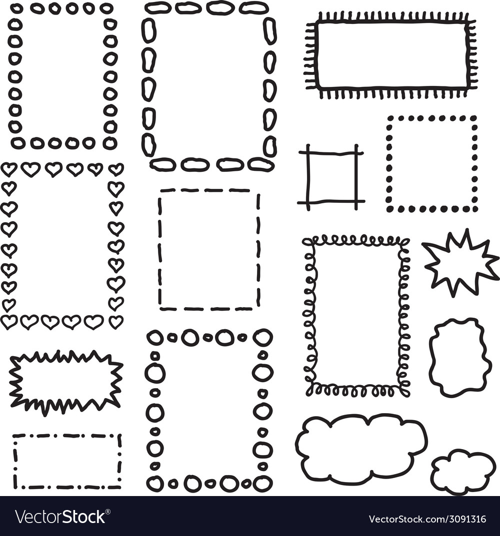 Set of hand drawing frames vector | Price: 1 Credit (USD $1)