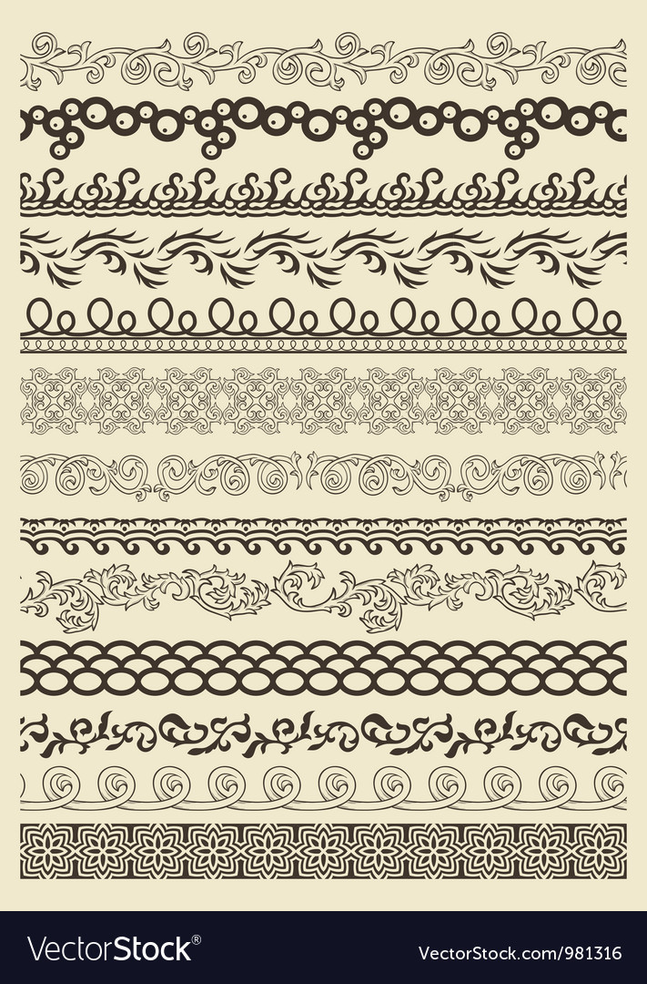 Set of vintage lines vector | Price: 1 Credit (USD $1)
