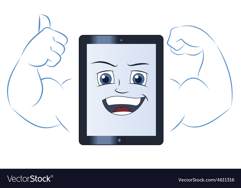Smiling powerful tablet computer 2 vector | Price: 1 Credit (USD $1)