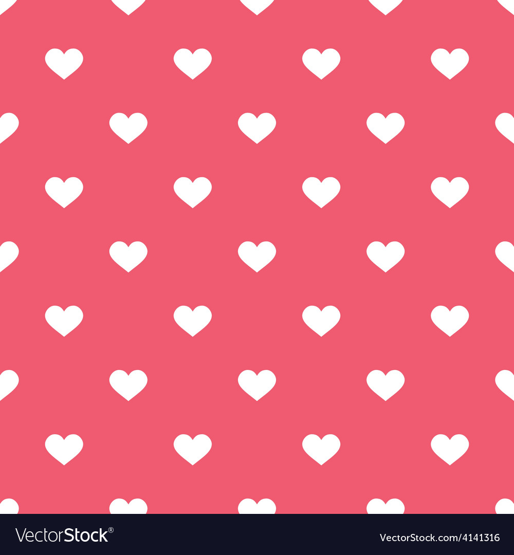 Tile cute pattern white hearts pink background vector | Price: 1 Credit (USD $1)