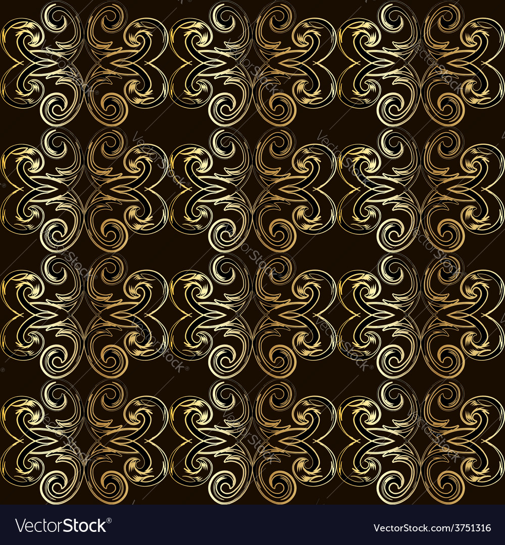 Vintage seamless pattern with golden curls in vector | Price: 1 Credit (USD $1)