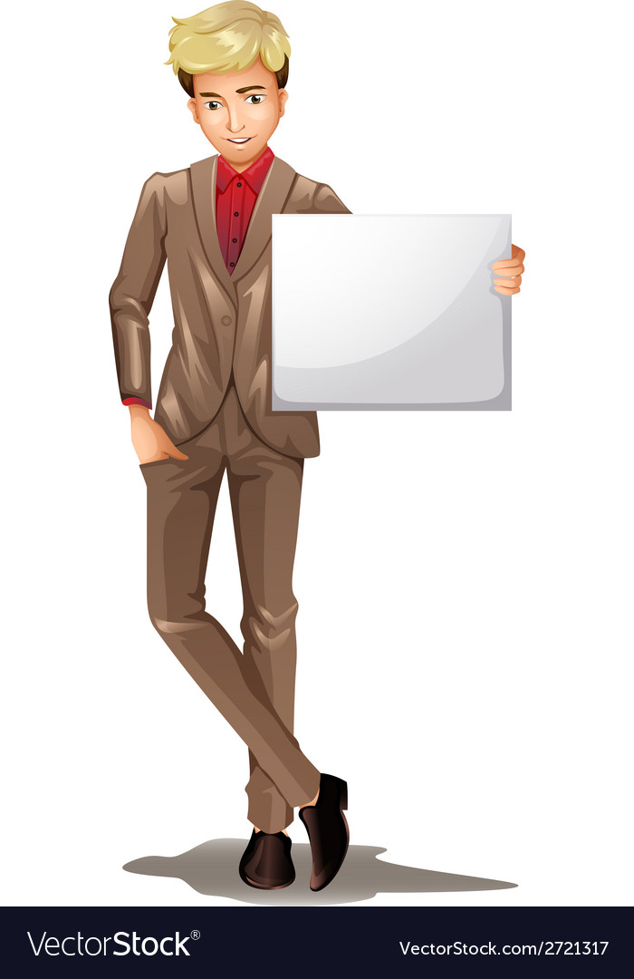 A man holding an empty signboard vector | Price: 1 Credit (USD $1)
