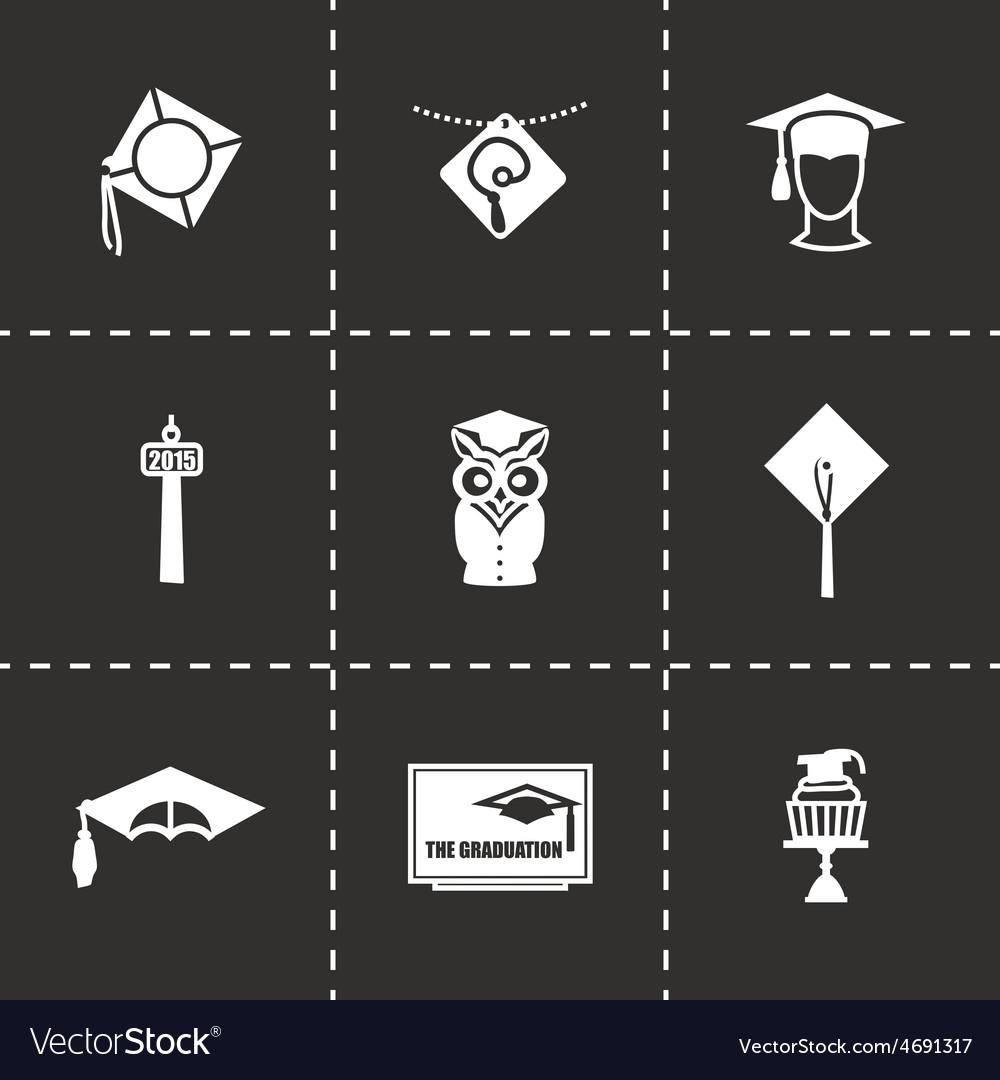 Academic cap icon set vector | Price: 1 Credit (USD $1)
