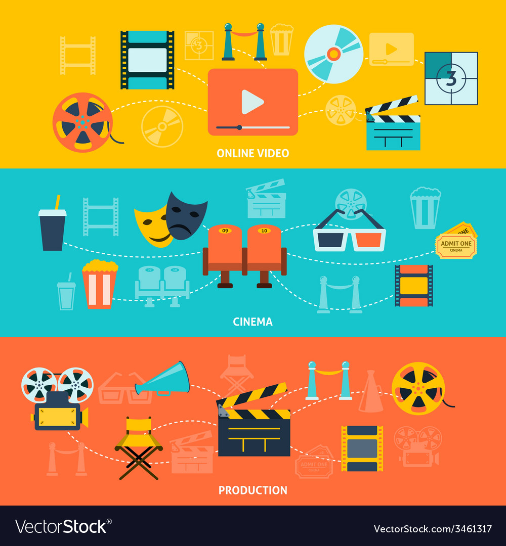 Cinema horizontal banners set vector | Price: 1 Credit (USD $1)