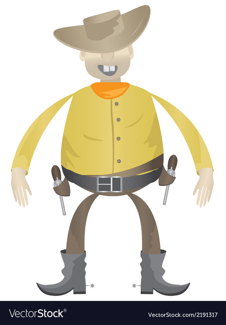 Cowboy with guns vector | Price: 1 Credit (USD $1)