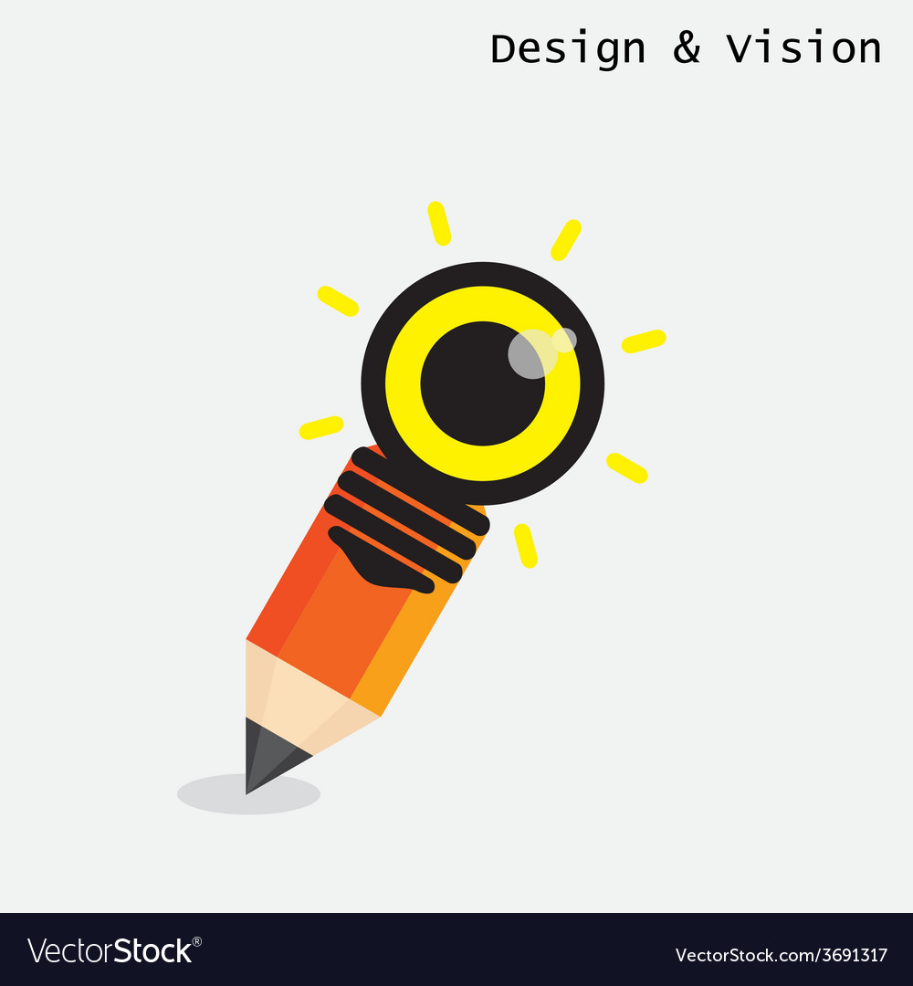 Creative pencil and light bulb design vector | Price: 1 Credit (USD $1)