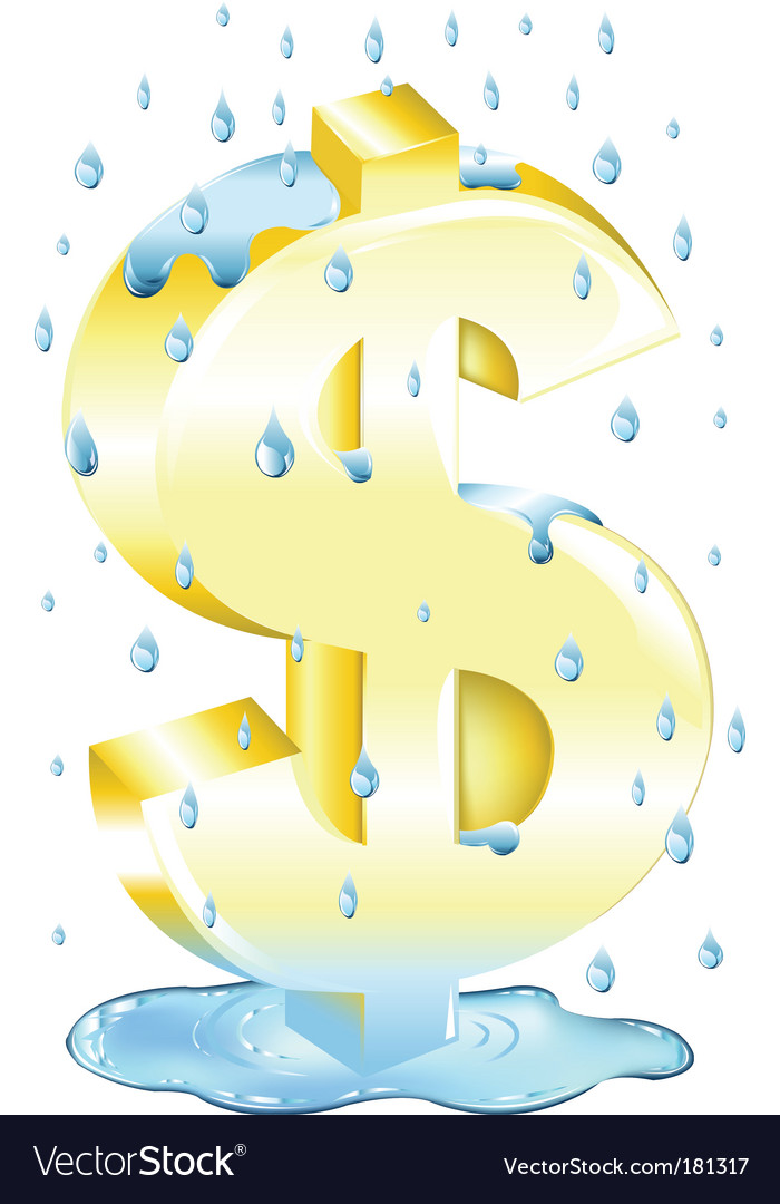 Dollar sign in the rain vector | Price: 1 Credit (USD $1)