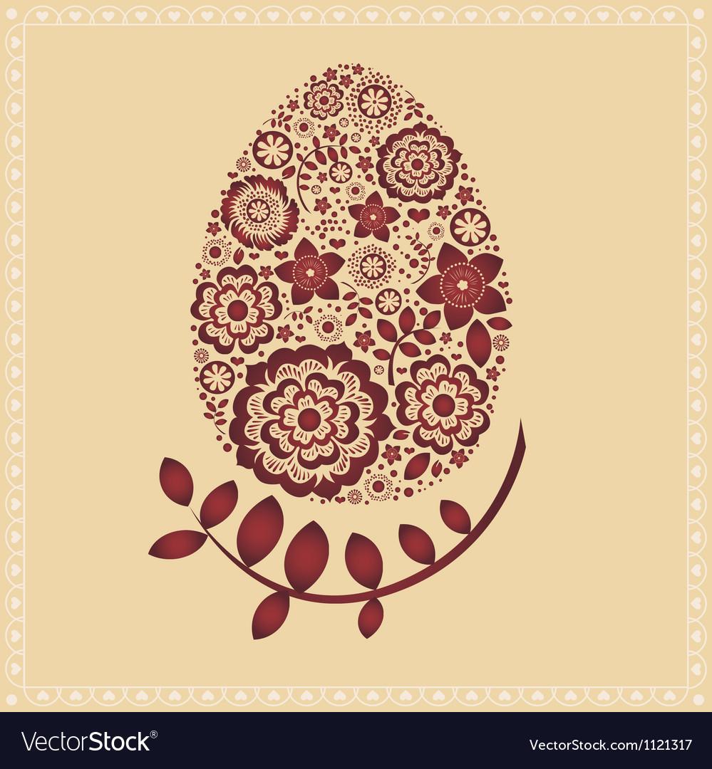 Floral ornamental easter egg -post card vector   Price: 1 Credit (USD $1)
