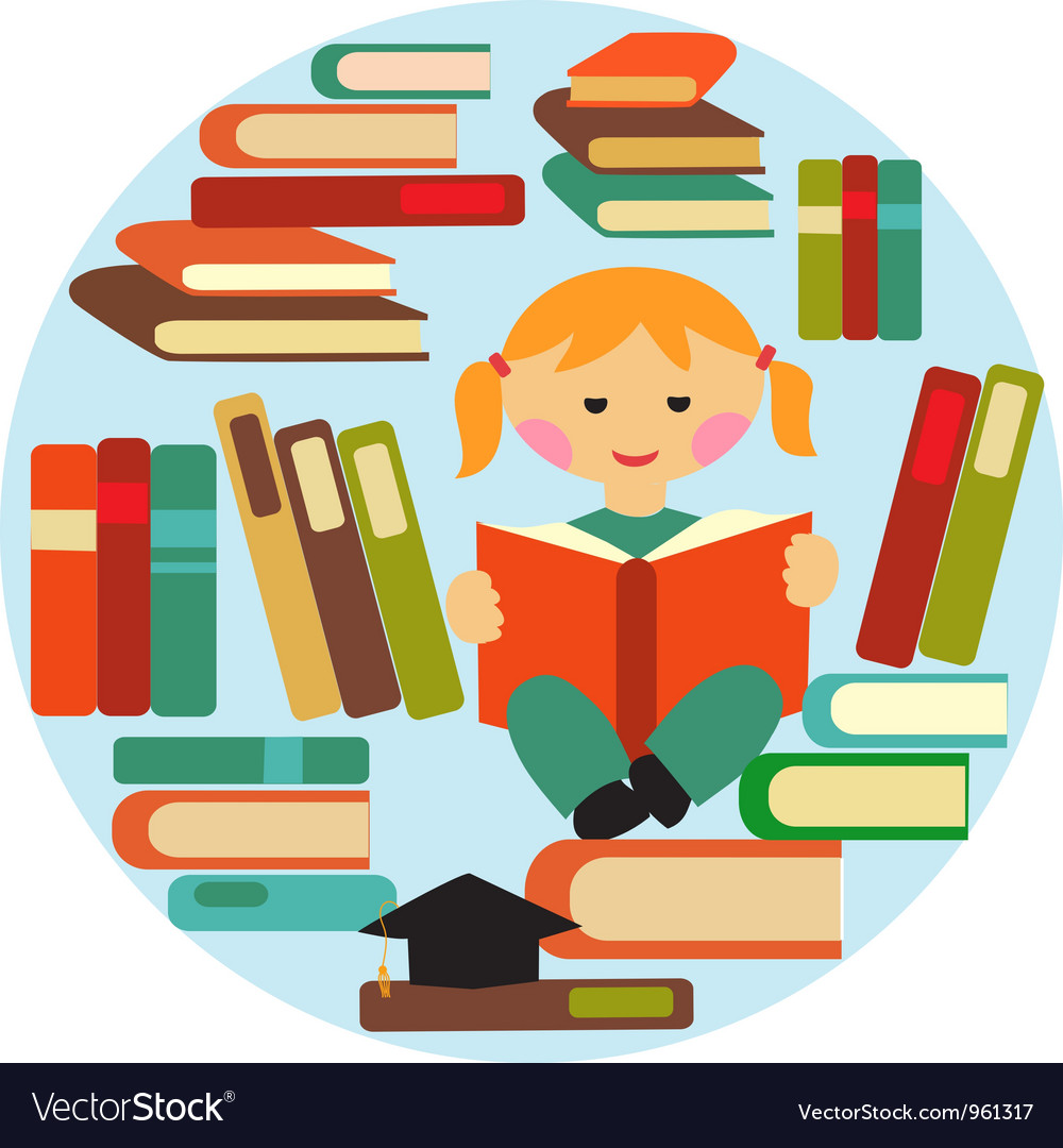 Girl reading on pile of books vector | Price: 1 Credit (USD $1)