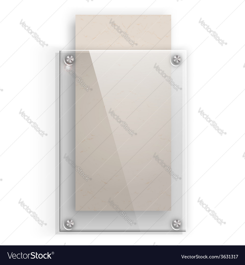 Glass plate with a piece of cardboard on white vector | Price: 1 Credit (USD $1)