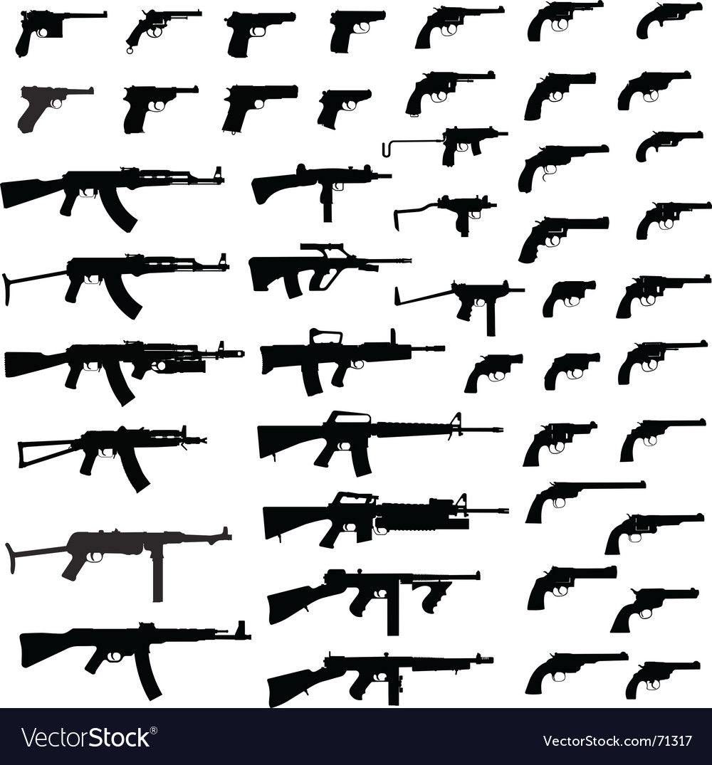 Gun silhouettes vector | Price: 1 Credit (USD $1)