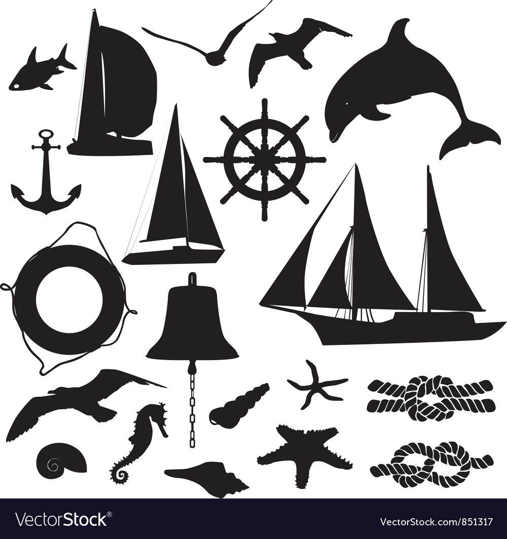 Set of silhouettes symbolizing the marine leisure vector | Price: 1 Credit (USD $1)