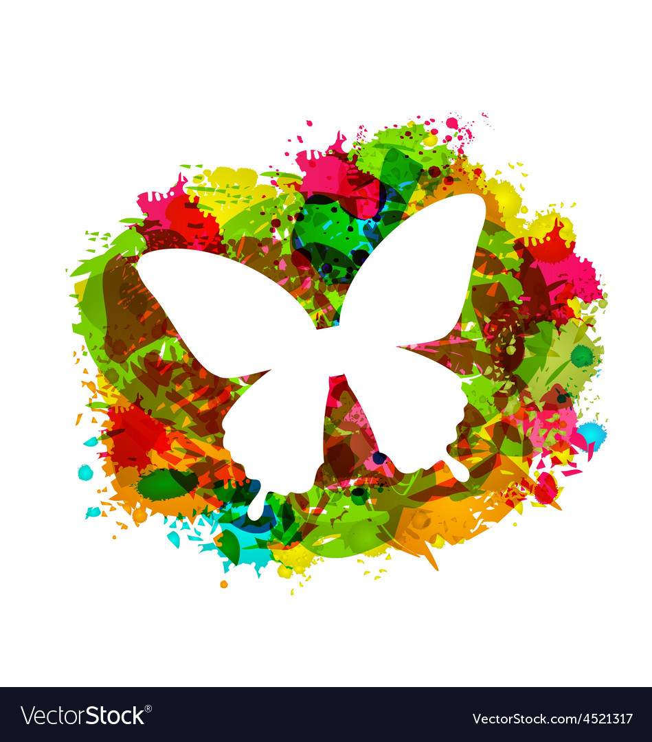 Simple white butterfly on colorful grunge damage vector | Price: 1 Credit (USD $1)