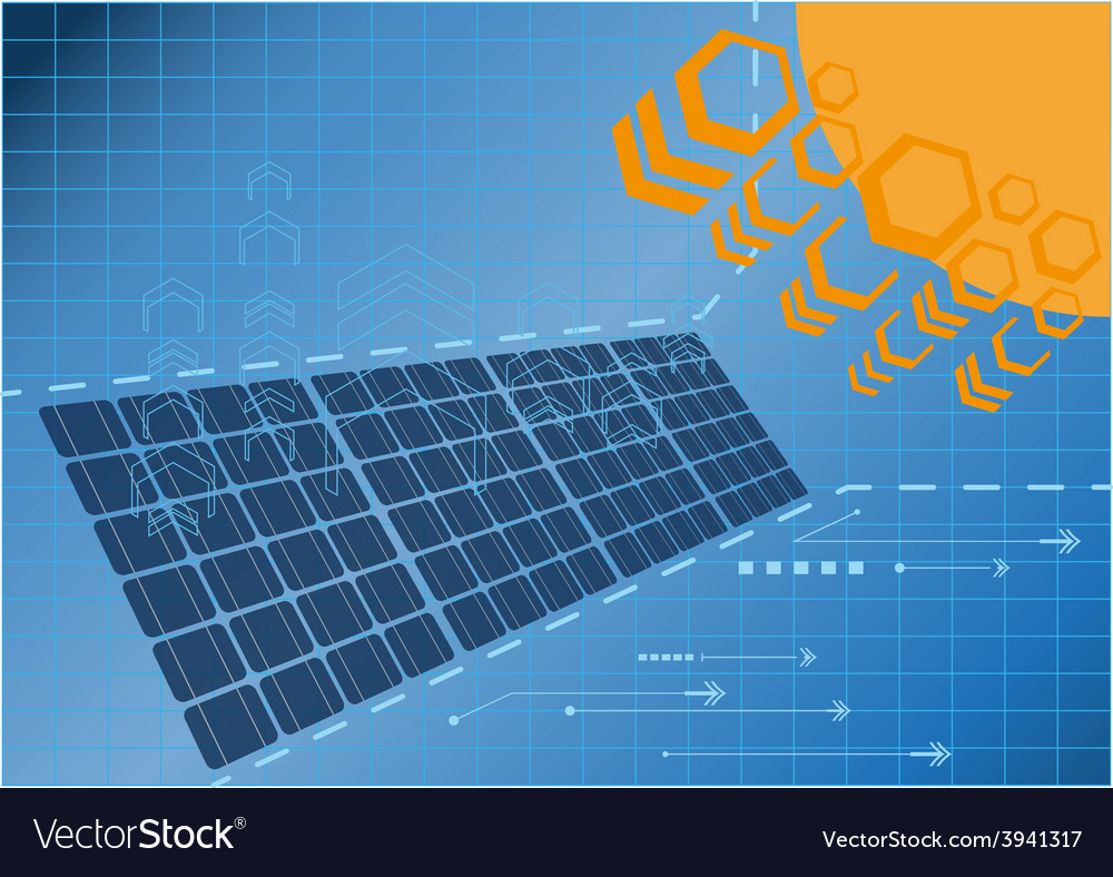 Solar cell power plant vector | Price: 1 Credit (USD $1)