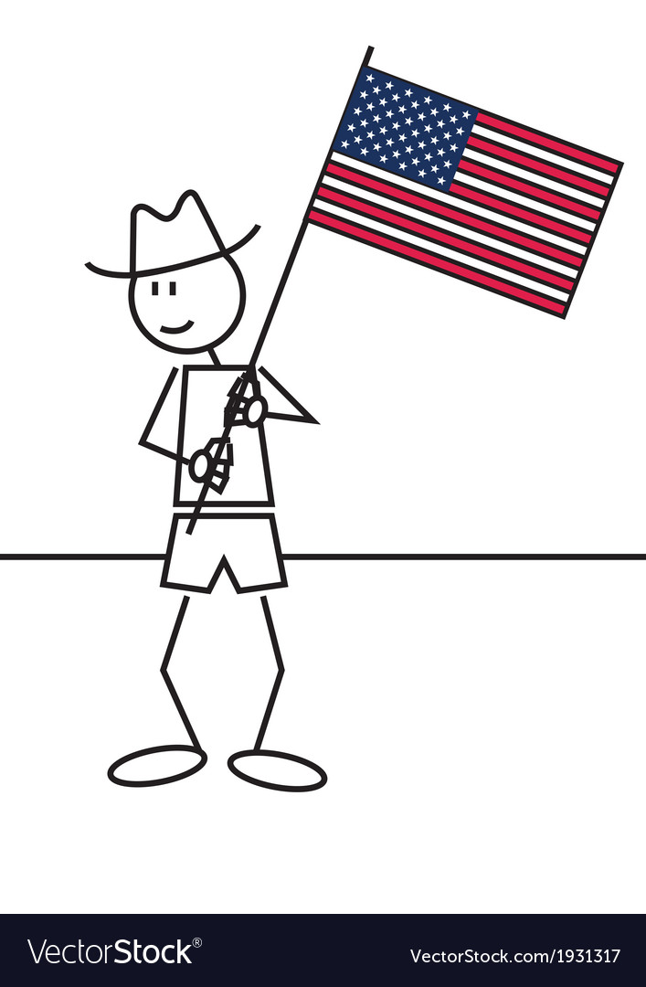 Stick figure usa flag vector | Price: 1 Credit (USD $1)