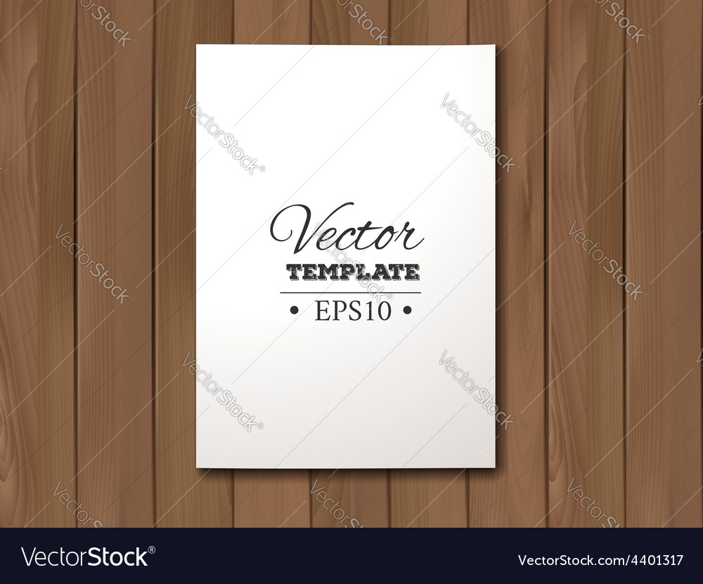 Template of blank paper sheet on a wooden vector | Price: 1 Credit (USD $1)