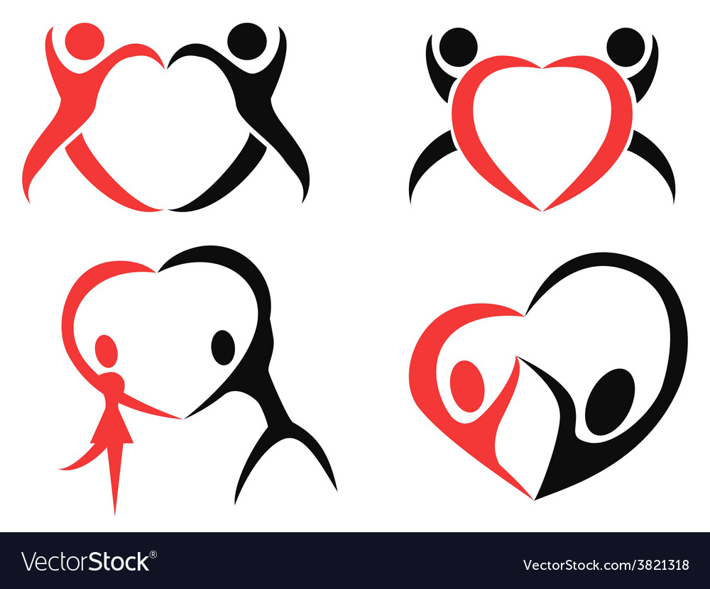Abstract people heart symbol vector | Price: 1 Credit (USD $1)