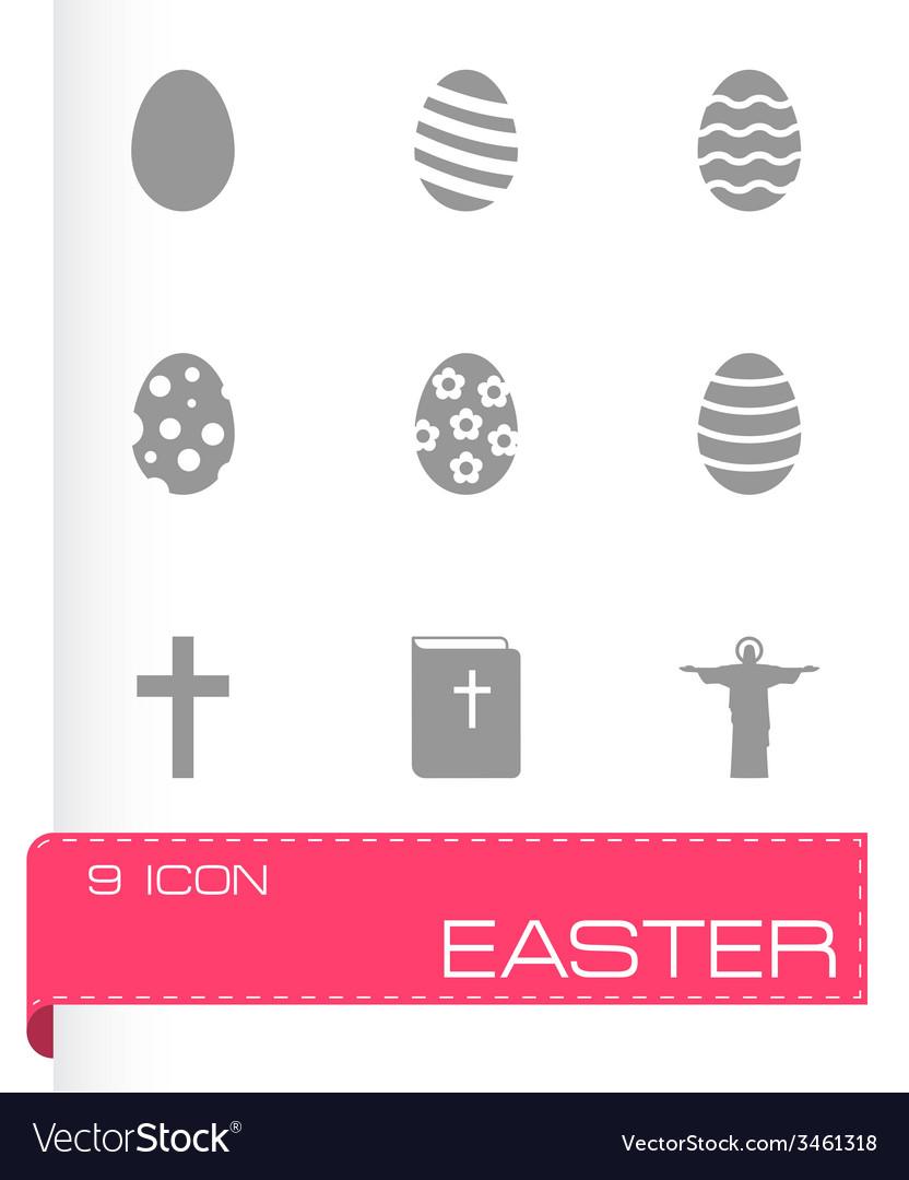 Black easter icon set vector   Price: 1 Credit (USD $1)