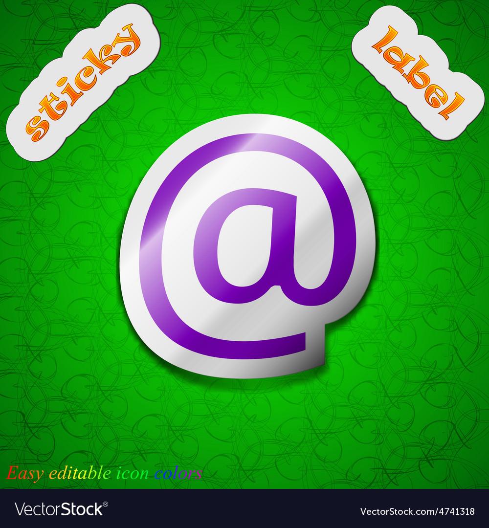 E-mail icon sign symbol chic colored sticky label vector   Price: 1 Credit (USD $1)