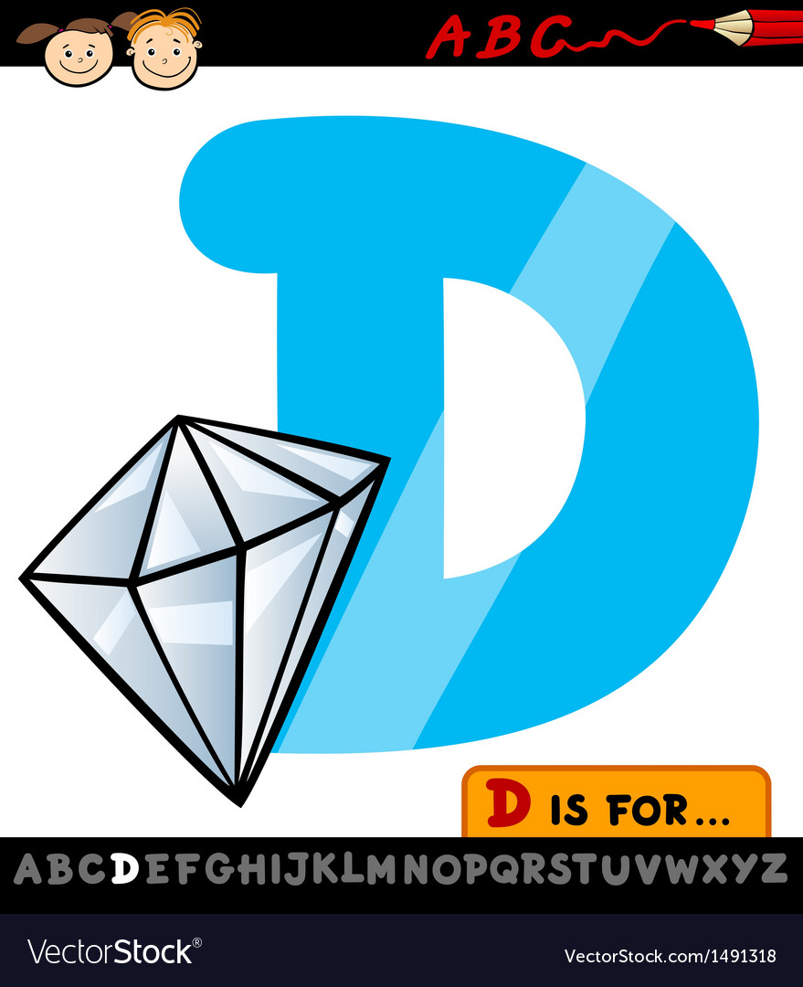 Letter d with diamond cartoon vector | Price: 1 Credit (USD $1)