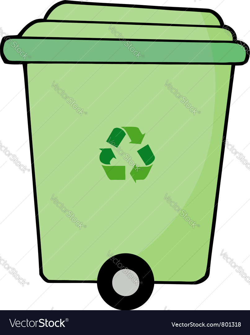 Rolling green recycle bin vector | Price: 1 Credit (USD $1)