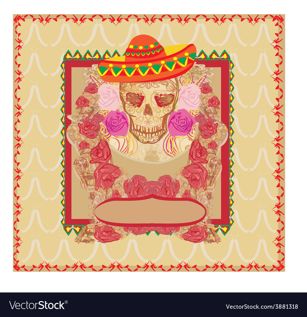 Skull and flowers day of the dead vector | Price: 1 Credit (USD $1)