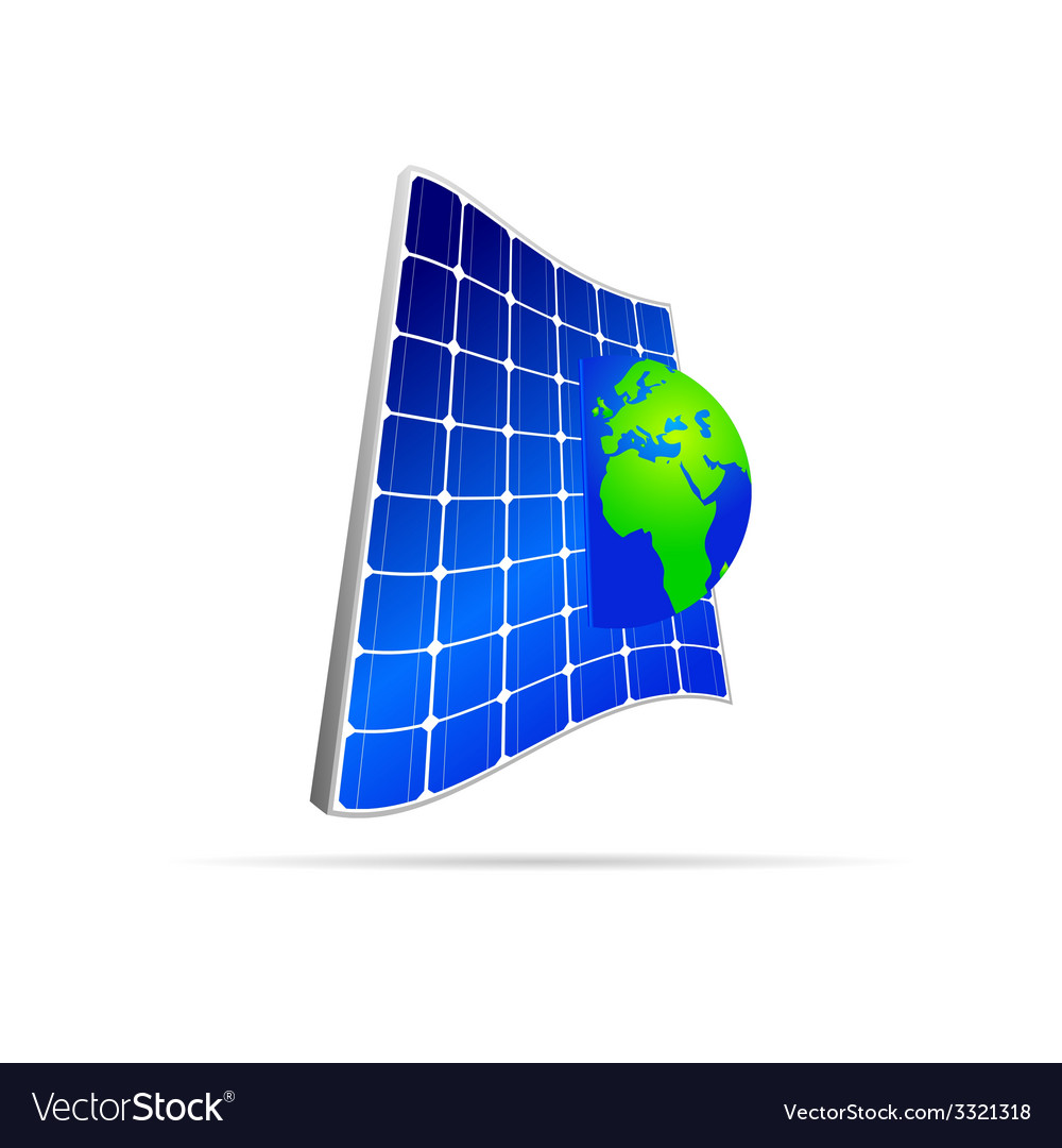 Solar panel with earth color vector | Price: 1 Credit (USD $1)