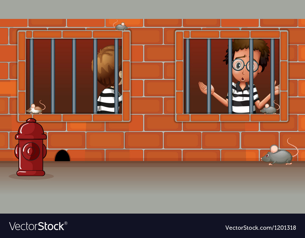 Two boys inside the jail vector | Price: 1 Credit (USD $1)