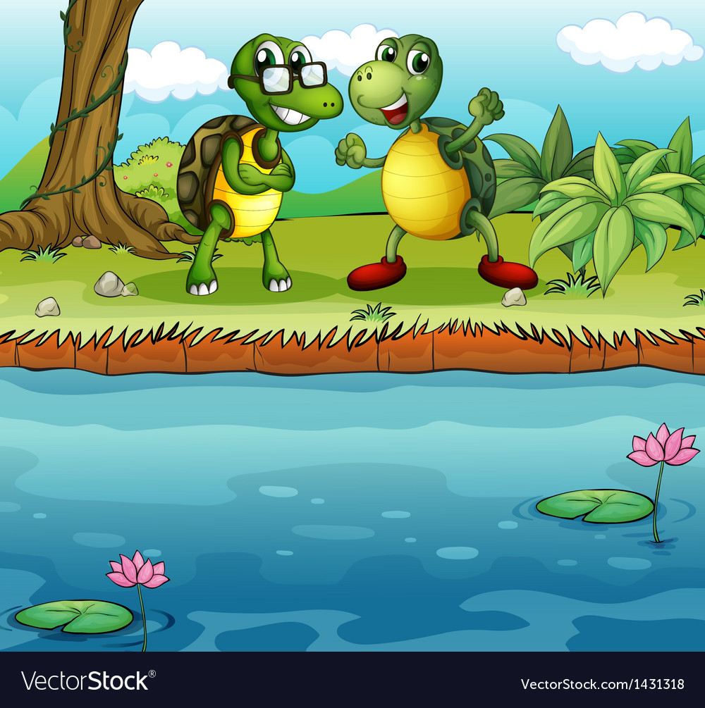 Two playful turtles near the pond vector