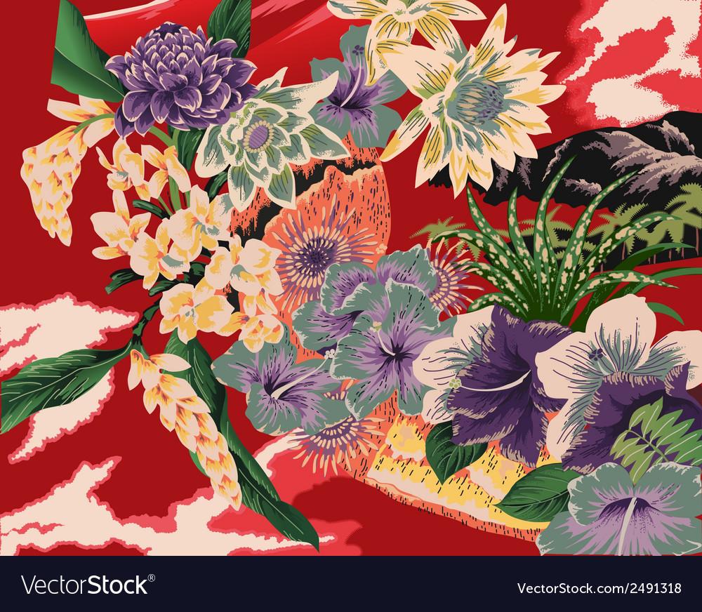 Vintage hawaiian kimono motifs vector | Price: 1 Credit (USD $1)