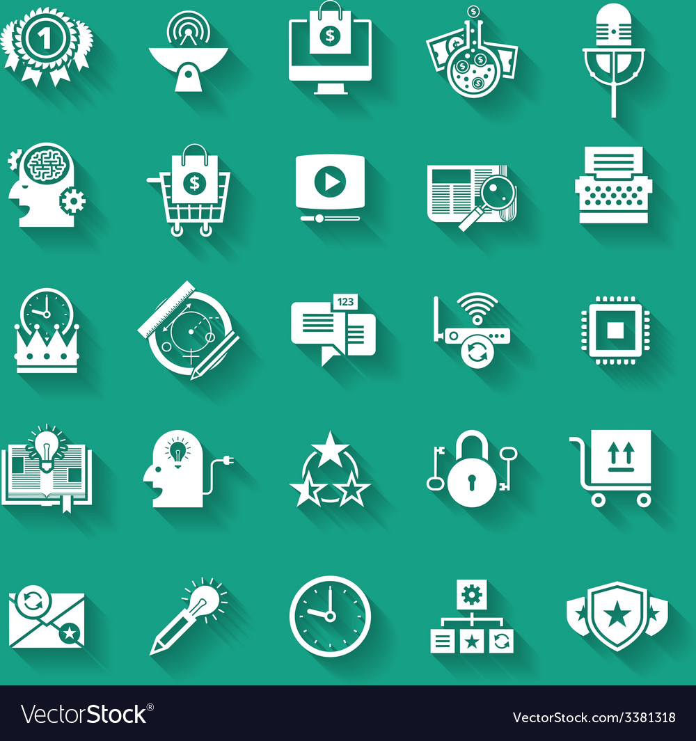 White flat icons set with long shadows business vector | Price: 1 Credit (USD $1)