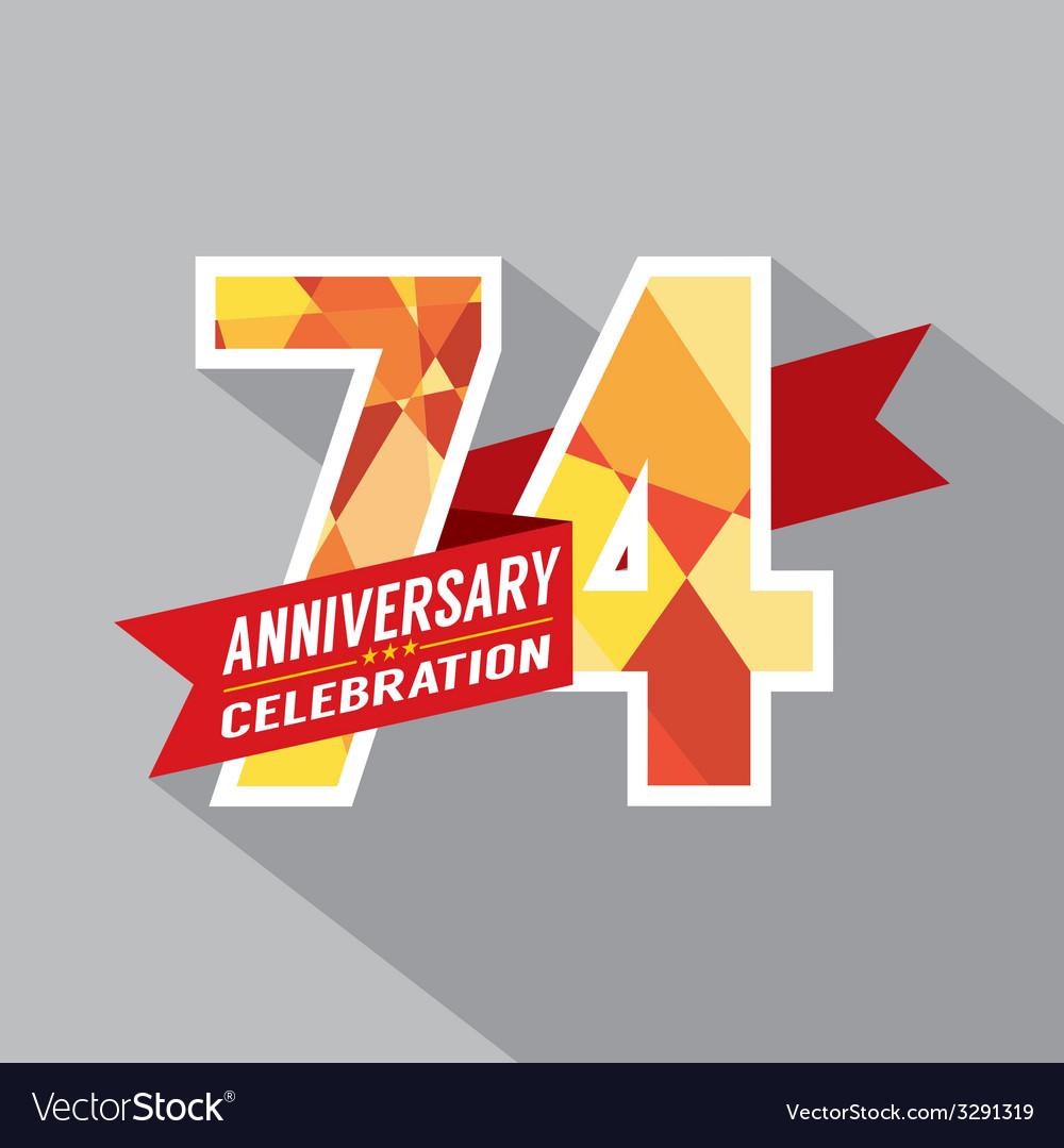 74th years anniversary celebration design vector | Price: 1 Credit (USD $1)