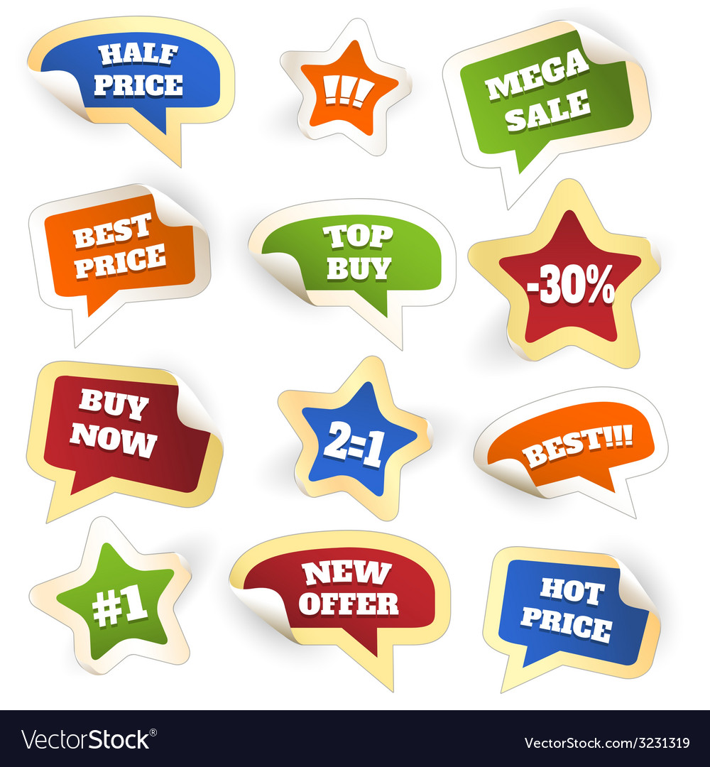 Assortment of colorful discount sale tags vector | Price: 1 Credit (USD $1)