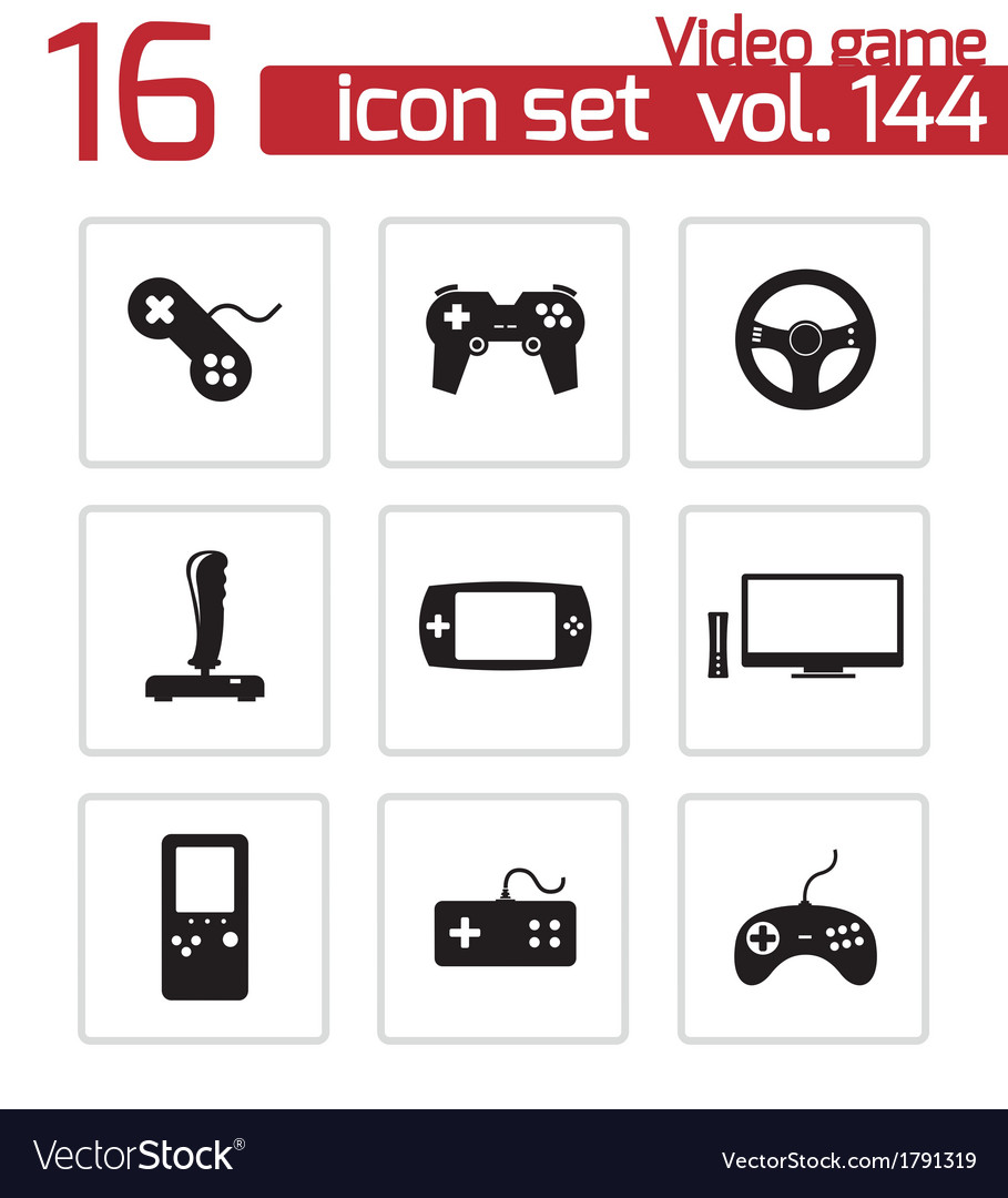 Black video game icons set vector | Price: 1 Credit (USD $1)