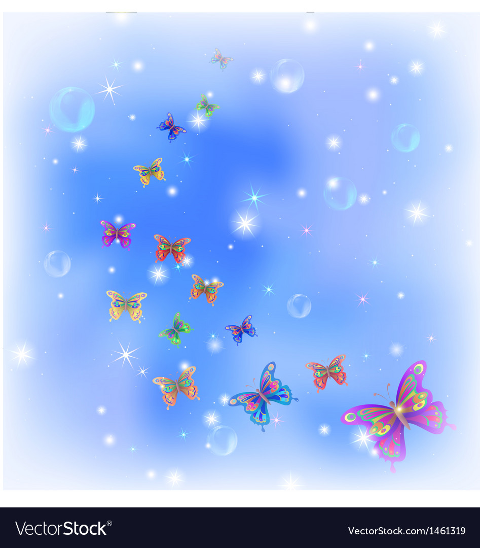 Butterflies on sky vector | Price: 1 Credit (USD $1)